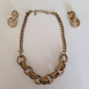 Gold necklace with matching earrings